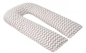 """фото наволочки к подушке для беременных AmaroBaby U-образная 340х35 в цвете """"Зигзаг кофе"""""""