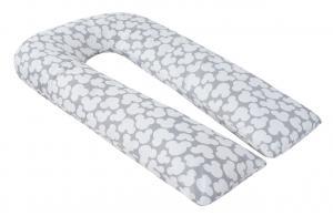 """фото наволочки к подушке для беременных AmaroBaby U-образная 340х35 в цвете """"Облака вид серый"""