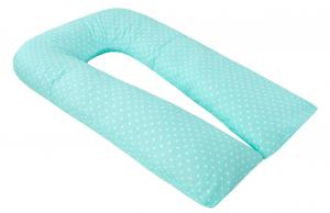"""фото наволочки к подушке для беременных AmaroBaby U-образная 340х35 в цвете """"Сердечки мята"""""""