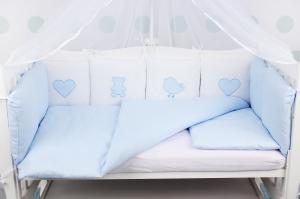 """фото комплекта в кроватку 18 предметов (6+12 бортиков) AmaroBaby КРОХА Premium в цвете """"голубой"""""""