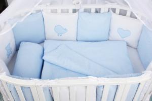 Комплект в кроватку 18 предметов (6+12 бортиков) AmaroBaby КРОХА Premium (голубой)