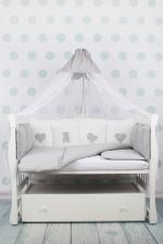 Комплект в кроватку 18 предметов (6+12 бортиков) AmaroBaby КРОХА Premium (серый)