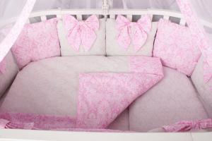 """фото комплекта Premium в кроватку 18 предметов (6+12 бортиков) AmaroBaby ЭЛИТ в цвете """"Розовый"""""""