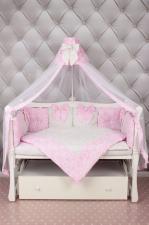 Комплект Premium в кроватку 18 предметов (6+12 бортиков) AmaroBaby ЭЛИТ (бязь, розовый)