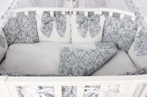 """фото комплекта Premium в кроватку 18 предметов (6+12 бортиков) AmaroBaby ЭЛИТ в цвете """"Серый"""""""