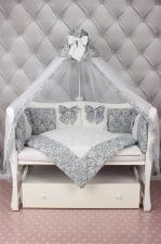 Комплект Premium в кроватку 18 предметов (6+12 бортиков) AmaroBaby ЭЛИТ (бязь, серый)