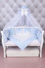 Комплект Premium в кроватку 18 предметов (6+12 бортиков) AmaroBaby ЭЛИТ (бязь, голубой)