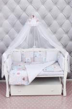 Комплект Premium в кроватку 18 предметов (6+12 бортиков) AmaroBaby НЕЖНОСТЬ (сатин, розовый)