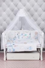 Комплект Premium в кроватку 18 предметов (6+12 бортиков) AmaroBaby ФАНТАЗИЯ (сатин, белый)