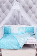 Комплект в кроватку 18 предметов (6+12 бортиков) AmaroBaby ROYAL BABY Premium (бязь, бирюзовый)