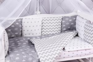 """фото комплекта в кроватку 18 предметов (6+12 бортиков) AmaroBaby ROYAL BABY Premium в цвете """"Серый"""""""