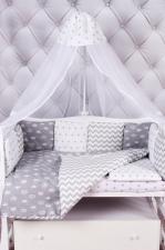 Комплект в кроватку 18 предметов (6+12 бортиков) AmaroBaby ROYAL BABY Premium (бязь, серый)