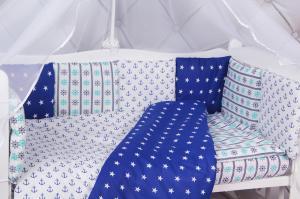 """фото комплекта в кроватку 18 предметов (6+12 бортиков) AmaroBaby БРИЗ Premium в цвете """"Синий/белый"""""""