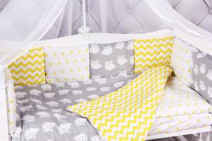 """фото комплекта в кроватку 18 предметов (6+12 бортиков) AmaroBaby СОВЯТА Premium в цвете """"желтый/серый"""""""