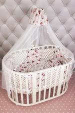 Комплект Premium в кроватку 19 предметов (7+12 подушек-бортиков) AmaroBaby СОНЯ (розовый, бязь)
