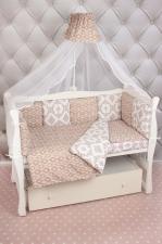 Комплект Premium в кроватку 19 предметов (7+12 подушек-бортиков) AmaroBaby КОРОНЫ (коричневый, бязь)