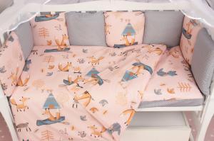 """фото комплекта Premium в кроватку 19 предметов (7+12 подушек-бортиков) AmaroBaby ЧУДО в цвете """"персиковый"""""""