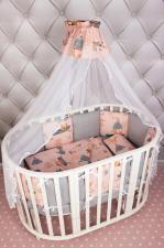 Комплект Premium в кроватку 19 предметов (7+12 подушек-бортиков) AmaroBaby ЧУДО (персиковый, бязь)