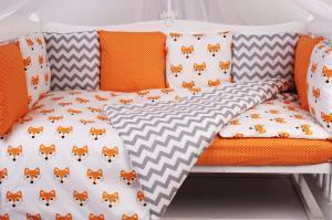 """фото комплекта в кроватку 19 предметов (7+12 бортиков) AmaroBaby LUCKY Premium в цвете """"оранжевый"""""""
