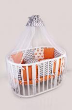Комплект в кроватку 19 предметов (7+12 бортиков) AmaroBaby LUCKY Premium (оранжевый,поплин/бязь)