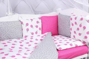"""фото комплекта в кроватку 19 предметов (7+12 бортиков) AmaroBaby SWEET Premium в цвете """"малиновый/белый"""""""