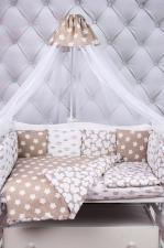 Комплект в кроватку 19 предметов (7+12 подушек-бортиков) AmaroBaby SOFT Premium (коричневый, бязь)