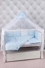 Комплект в кроватку 19 предметов (7+12 бортиков) AmaroBaby ВОЗДУШНЫЙ Premium (голубой, бязь)