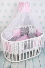 Комплект в кроватку 19 предметов (7+12 бортиков) AmaroBaby МЕЧТА Premium (серый/розовый,поплин/бязь)