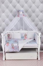 Комплект Premium в кроватку 19 предметов (7+12 бортиков) AmaroBaby LITTLE CRYSTAL (поплин,розовый)
