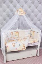 Комплект в кроватку 18 предметов (6+12 подушек-бортиков) AmaroBaby МИШКА (бежевый)