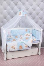 Комплект в кроватку 18 предметов (6+12 подушек-бортиков) AmaroBaby МИШКА (голубой)
