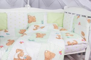 """фото комплекта в кроватку 18 предметов (6+12 подушек-бортиков) AmaroBaby МИШКА в цвете """"зеленый"""""""