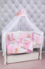 Комплект в кроватку 18 предметов (6+12 подушек-бортиков) AmaroBaby МИШКА (розовый)