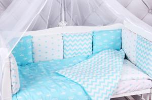 """фото комплекта в кроватку 18 предметов (6+12 подушек-бортиков) AmaroBaby ROYAL BABY в цвете """"бирюзовый"""""""