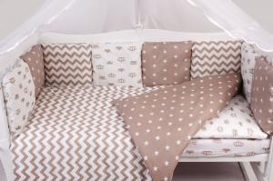 """фото комплекта в кроватку 18 предметов (6+12 подушек-бортиков) AmaroBaby ROYAL BABY в цвете """"коричневый"""""""