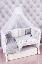 Комплект в кроватку 18 предметов (6+12 подушек-бортиков) AmaroBaby ROYAL BABY (бязь, серый)