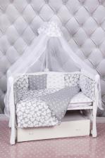 Комплект в кроватку 18 предметов (6+12 подушек-бортиков) AmaroBaby SILVER (бязь, серый)