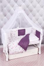 Комплект в кроватку 18 предметов (6+12 подушек-бортиков) AmaroBaby АМЕЛИ (бязь, вишня/белый)