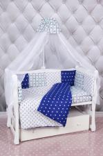 Комплект в кроватку 18 предметов (6+12 подушек-бортиков) AmaroBaby БРИЗ (бязь, синий/белый)