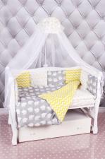 Комплект в кроватку 18 предметов (6+12 подушек-бортиков) AmaroBaby СОВЯТА (бязь, желтый/серый)