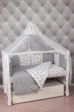 Комплект в кроватку 18 предметов (6+12 подушек-бортиков) AmaroBaby МИМИМИ (бязь, серый)