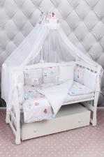 Комплект в кроватку 18 предметов (6+12 подушек-бортиков) AmaroBaby НЕЖНОСТЬ (сатин, розовый)