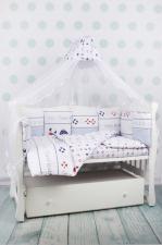 Комплект в кроватку 18 предметов (6+12 подушек-бортиков) AmaroBaby КРУИЗ (сатин, белый/голубой)