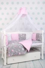 Комплект в кроватку 19 предметов (7+12 подушек-бортиков) AmaroBaby МЕЧТА (серый/розовый,поплин/бязь)