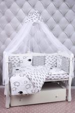 Комплект в кроватку 19 предметов (7+12 подушек-бортиков) AmaroBaby GOOD NIGHT(белый/сер,поплин/бязь)