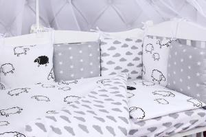 """фото комплекта в кроватку 18 предметов (6+12 подушек-бортиков) AmaroBaby GOOD NIGHT в цвете """"белый/серый"""""""