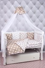 Комплект в кроватку 19 предметов (7+12 подушек-бортиков) AmaroBaby SOFT (коричневый, бязь)