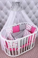 Комплект в кроватку 19 предметов (7+12 подушек-бортиков) AmaroBaby SWEET (малиновый/белый, бязь)