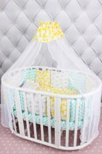 Комплект в кроватку 19 предметов (7+12 подушек-бортиков) AmaroBaby HAPPY BABY (мятный/желтый, бязь)