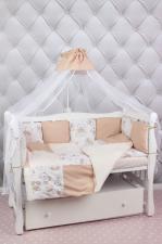 Комплект в кроватку 19 предметов (7+12 подушек-бортиков, лоскутное одеяло) AmaroBaby ТРИУМФ (бежевый, поплин)
